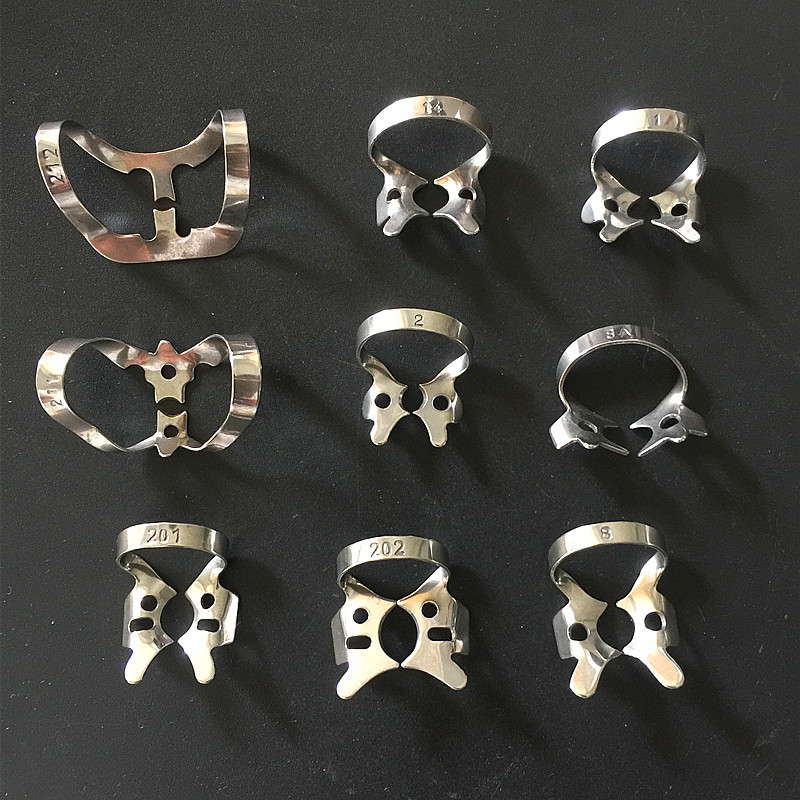 9Pcs Most Popular Dental Endodontic Restorative Rubber Dam Clamps Rubber Barrier Clip Stainless Steel Clinic Material
