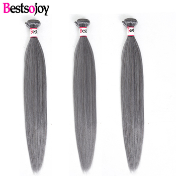"[Bestsojoy] Straight 10""-26"" M Remy Sliver Grey 3 Bundles 100% Human Hair Weave Brazilian Straight Hair Extension"
