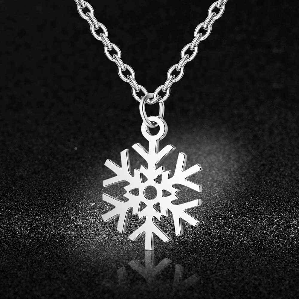 100% Stainless Steel Snowflake Charm Necklace Never Tarnish Steel High Polished Christmas Winter Pendant Women Necklaces