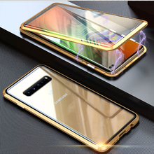 360 Magnetic Adsorption Metal Phone Case For Samsung Galaxy S8 Case S9 S10 Plus Note 10 8 9 M20 30 A10 A50 Tempered Glass Cover 10pcs metal ring stand phone case cover with magnetic adsorption 360 rotation ring holder tpu phone cover for samsung