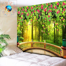 Living Room Tapestry Forest Flowers 3D Wall Hanging Mandala Psychedelic Bedroom Terrace Boho Carpet