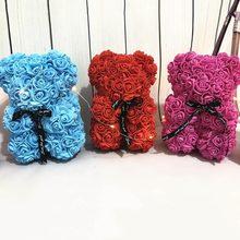 Presente do dia dos namorados 25cm rosa vermelha urso de pelúcia rosa artificial decoração da flor presentes de natal presente dos namorados