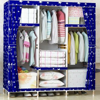 Super Large Family Waterproof Moistureproof Wardrobe Reinforced Bold Wooden Closet Oxford Cloth Fully enclosed Armoire