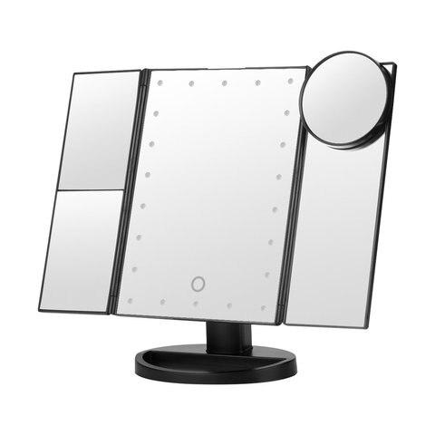 Espelho de maquiagem led com 10x amplia o desktop com dupla rota o livre espelho