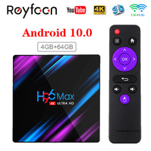 H96 max smart tv caixa android 10 rk3318 4gb 64gb usb3.0 1080p h.265 60fps google voz assistant youtube 4k smart tvbox 9.0 h96max