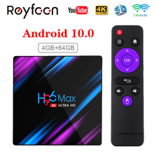 H96 max smart tv caixa android 10 rk3318 4gb 64gb usb3.0 1080p h.265 60fps google voz assistant youtube 4k smart tvbox 9.0 h96max