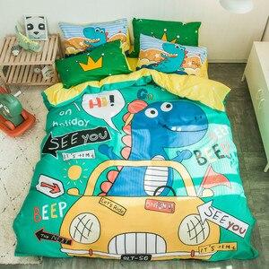 Image 3 - التوأم الملكة حجم 4 قطعة يونيكورن ديناصور حاف الغطاء غطاء سرير 100% القطن لينة تنفس دائم طقم سرير للأولاد الأطفال
