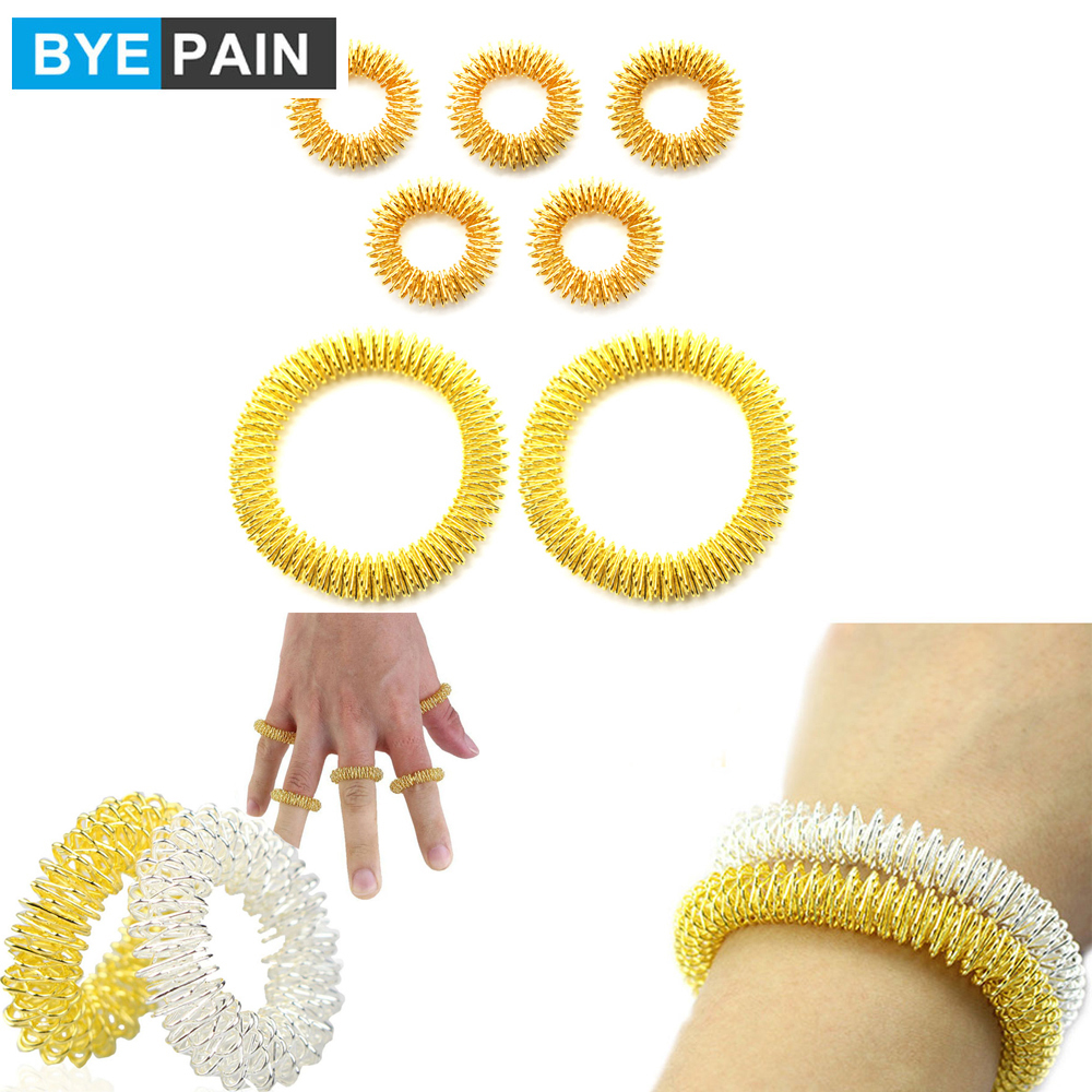 BYEPAIN 5Pcs Acupressure Massage Rings + 2Pcs Wrist Massage Rings, Chinese Medicine Pain Therapy Finger Circulation Massage Ring