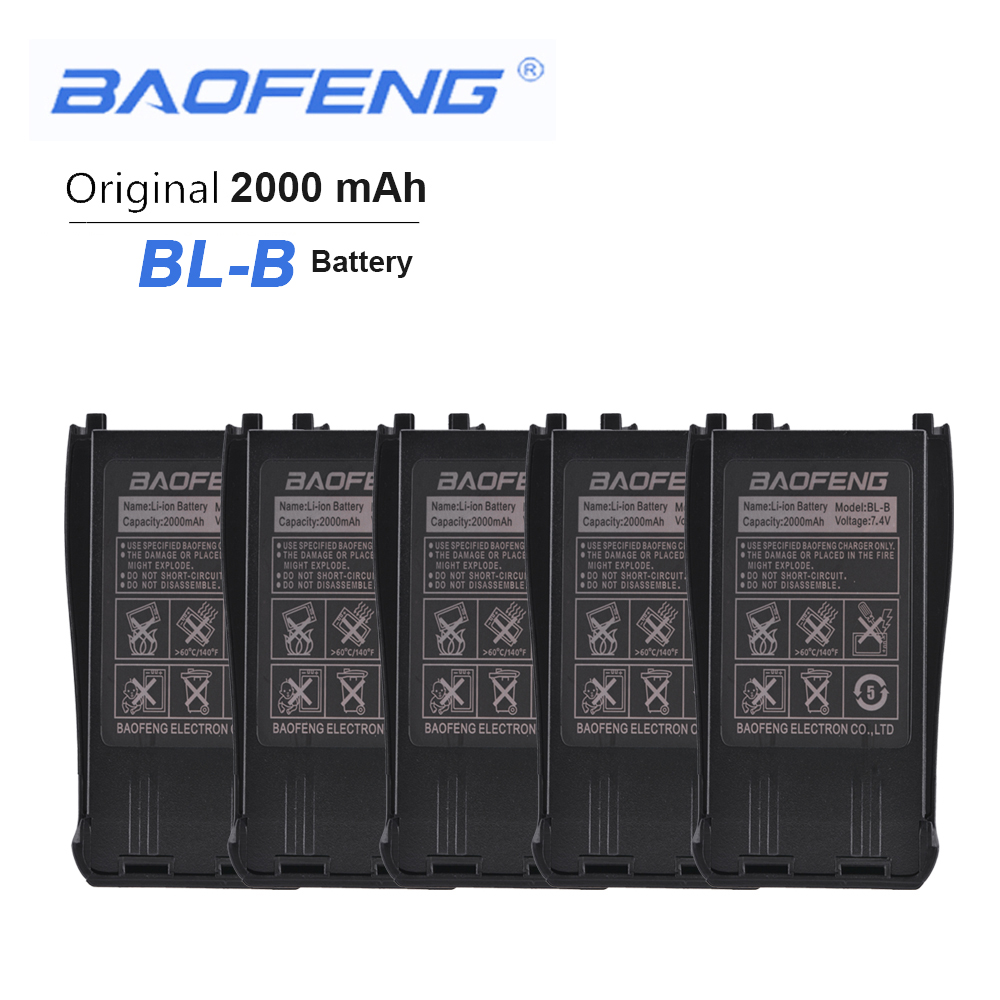 5PCS New Original BL-B5 B6 7.4V 2000mAh Li-ion Battery For Baofeng UV-B5 UV-B6 Dual Band Radio Walkie Talkie Phone Accessories