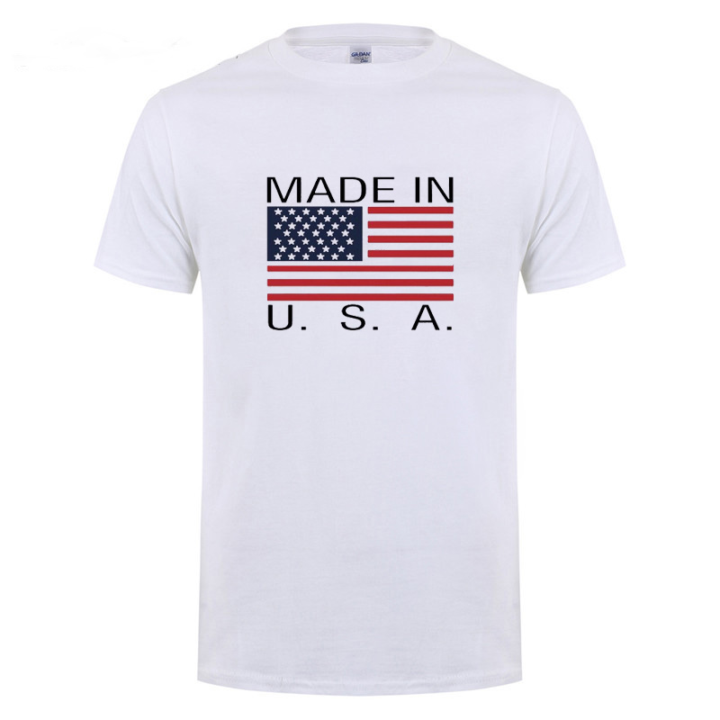 AMERICAN FLAG MADE IN USA Printed T Shirt For Men Male Short Sleeve Brand Casual O Neck T-Shirt Tshirt Summer Tops Tee