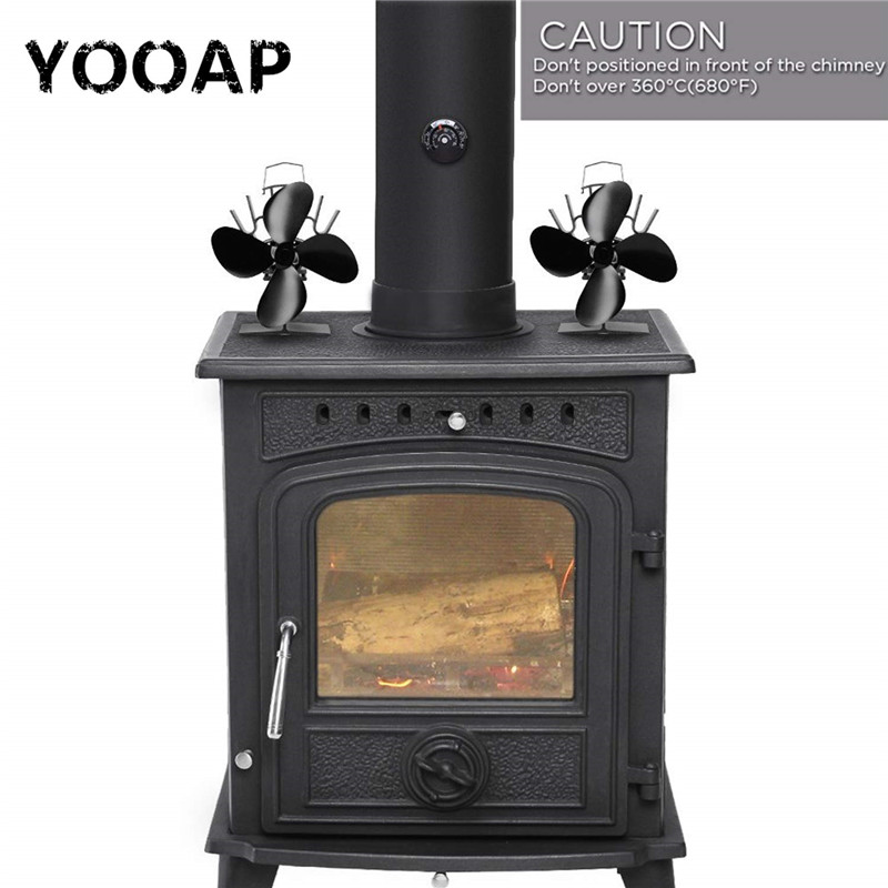 Yooap Professional fireplace tool kit, heat-driven 4-blade furnace fan, silent operation, ECO fan for stove