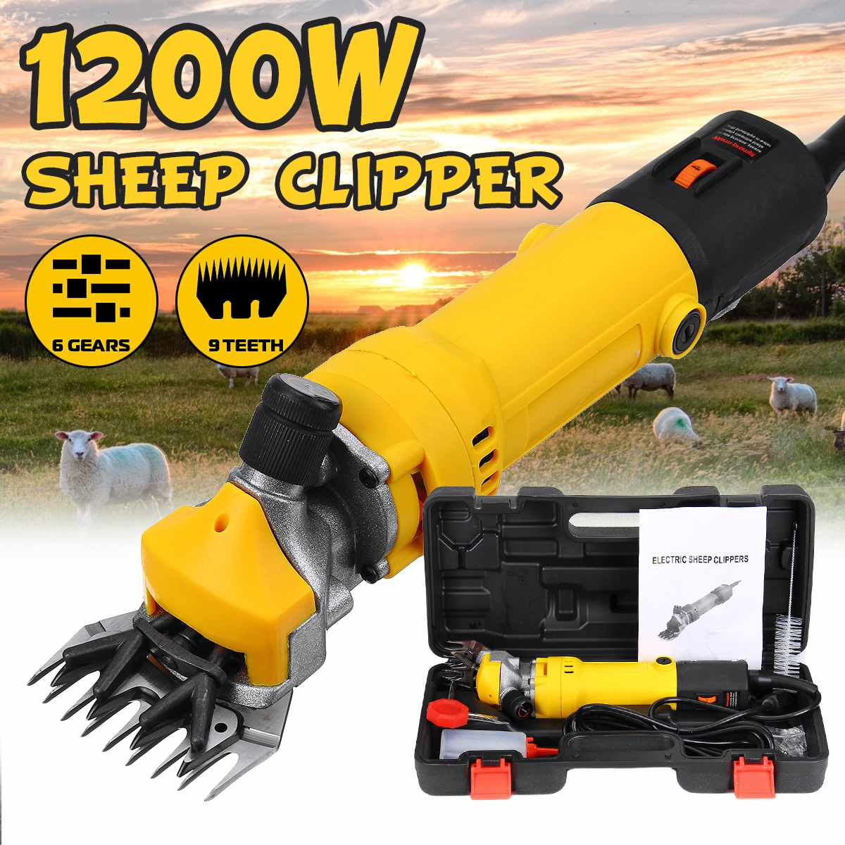 1200W 110V/220V 6 Gears Speed Electric Sheep Goat Shearing Machine Clipper Farm Shears Cutter Wool Scissor Cut Machine