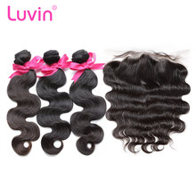 Luvin OneCut Hair Body Wave Brazilian Hair Weave 3 4 Bundles With 13x4 Lace Frontal Closure Remy 100% Human Hair Double Drawn(China)