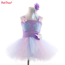 POSH DREAM Lavender Flower Girls Tutu Dresses for Cosplay Party Sea Shell Patch Lilac Children Halloween Clothes for Girls(China)