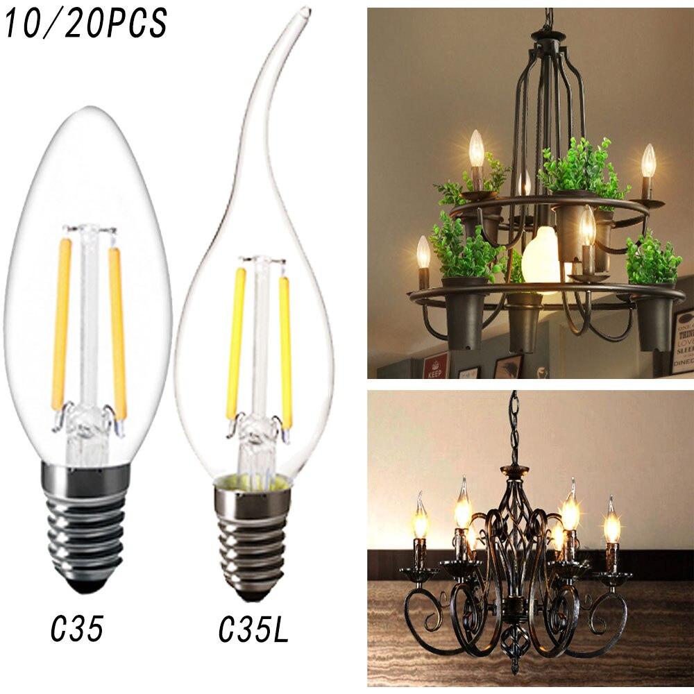 10 шт./партия C35 Светодиодная лампа накаливания 2 Вт 4 Вт 6 Вт без диммируемая лампа edison лампа C35L свеча лампочка теплый холодный цвет ретро анти...