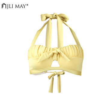 JLI MAY Sexy Solid Pleated Bikini Singleton Women Chest Hollowing Out Beachwear Wire Free Bowknot Halter Bandage Swimwear image