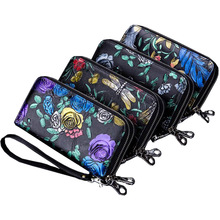 Western Rfid Three-Dimensional Carved Print Double ZipperWomen Long Leather Wallet  Large Capacity Women Coin Purse