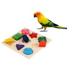 Animais de estimação brinquedos educativos pássaros papagaio treinamento interativo colorido bloco de madeira diy brinquedo acessórios
