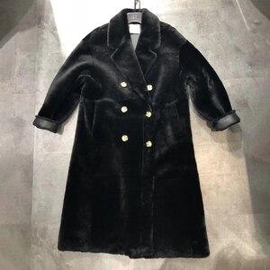 Image 3 - Real fur coat women plus size 2019 fashion leopard print genuine Merino sheepskin leather jacket double breasted long coat femal
