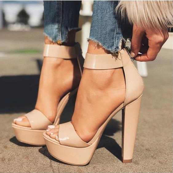 Ankle Strap Chunky Heels Dress Shoes