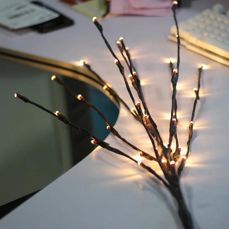 LED ערבה עץ סניף מנורת חג המולד פרחוני אור 20 נוריות בית חג המולד מסיבת גן דקור מתנת יום הולדת מתנות
