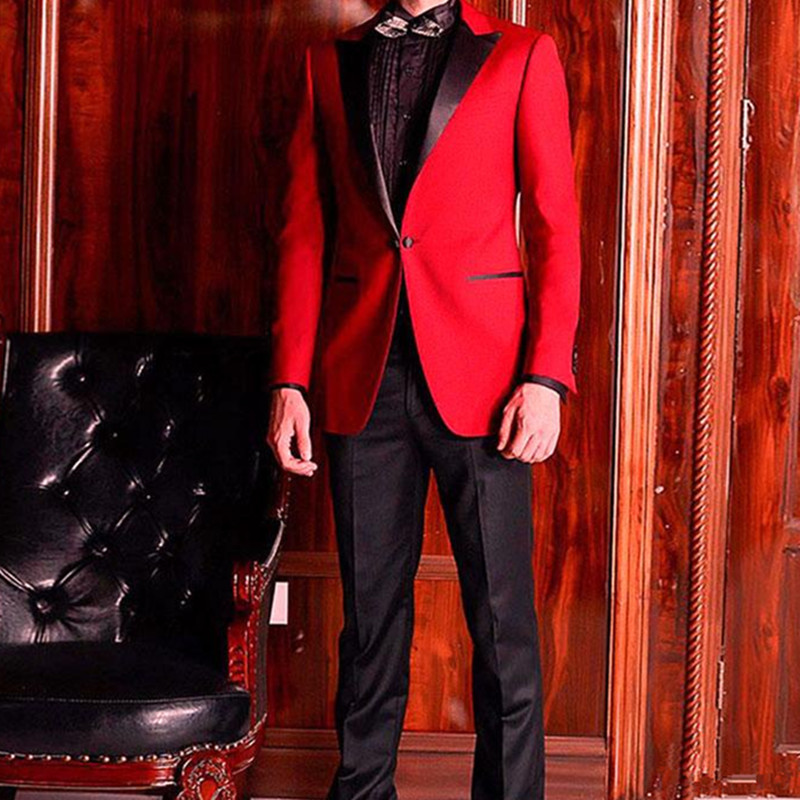 Men Suits For Wedding Groom Tuxedo Black Peaked Lapel Man Blazers 2Pieces Classic Fit Costume Homme(Red Jacket+Black Pant )