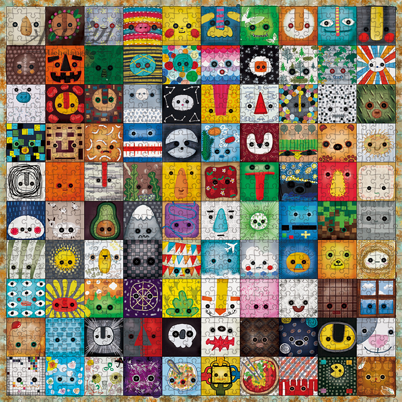 Michelangelo Wooden Jigsaw Puzzle 500 900 Pieces Cartoon Animals Face Emotion Icons Kids Educational Toy Painting Art Decor Gift
