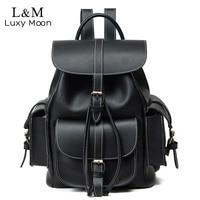 Vintage Drawstring Backpack Women High Quality PU Leather Backpacks Sac a Dos Black 2019 Shoulder Bag Female School Bags XA1179H
