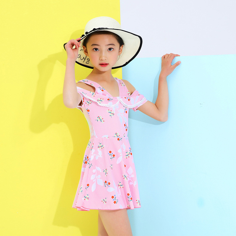 2019 New Style Zhuo Lang KID'S Swimwear Korean-style GIRL'S One-piece Swimsuit GIRL'S Cute Dress-Tour Bathing Suit