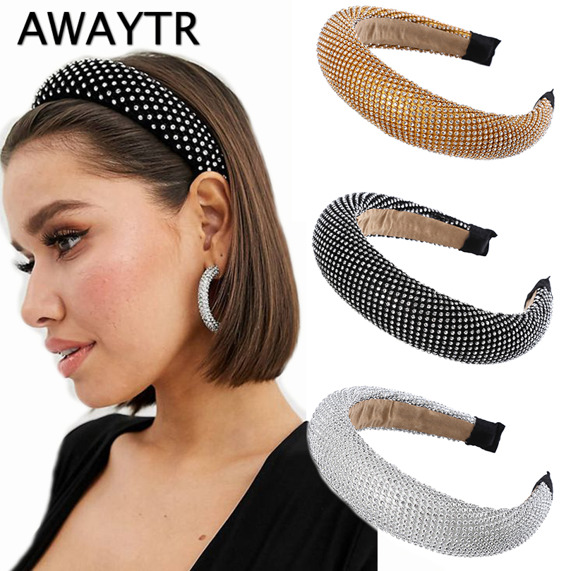 AWAYTR New Luxury Sparkly Padded Hairband Women Full Rhinestone Headband Ladies Bezel Headwear Crystal Girls Hair Accessories