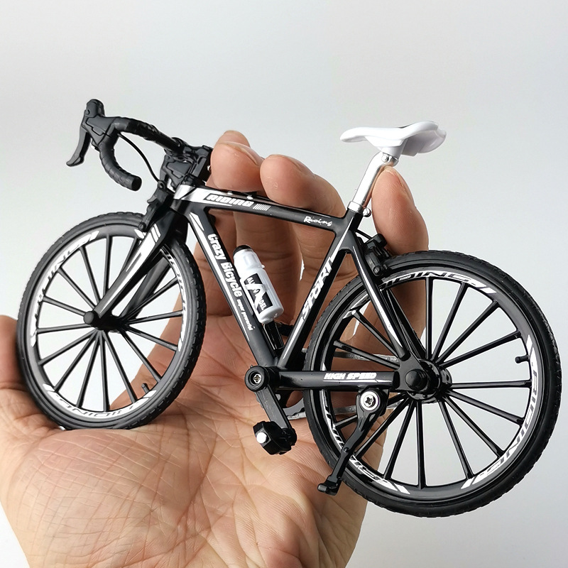 Crazy Magic Finger Bike Alloy Bicycle Model 1:10 Simulation Bicycle Bend Road Mini Racing Toys Adult Collection Gifts(China)