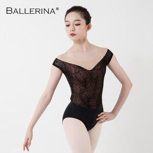 Image 4 - Ballet Turnpakje Vrouwen Praktijk Korte Mouwen Dans Kostuum Sexy Mesh Gymnastiek Rose Gold Kant Maillots Adulto Ballerina 3503