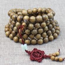 Green sandalwood bracelet 108 sandalwood beads bracelet solid wood beads men and women jewelry