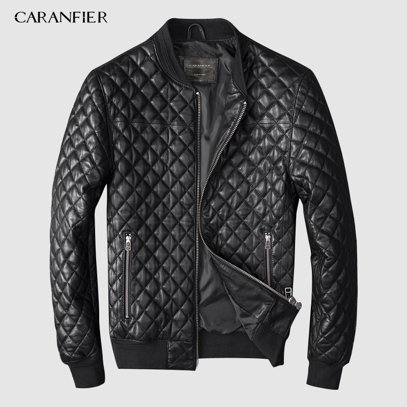 CARANFIER Mens Natural Sheepskin Jackets Coats Business Male Sheepskin Real Leather Jacket Men Outerwear Coats 4XL Men Clothing