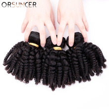 ORSUNCER Brazilian Afro Funmi Hair Bouncy Curly Human Hair Weaves Non-Remy 1% 2F3% 2F4 Bundles Extension Natural Color Medium Соотношение