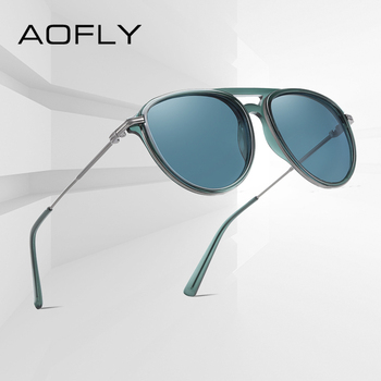 AOFLY Brand Design Pilot Polarized Sunglasses Women Men Fashion Acetate Frame Gradient Lens Driving Sun Glasses Male UV400 yellow lens matel frame men polarized sunglasses uv400 driving glasses for men 4 colors with box
