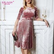 S.風味の女性スリムベルベットのドレス秋のファッション3分袖ヴィンテージプリーツドレス冬パーティーvestidosデ