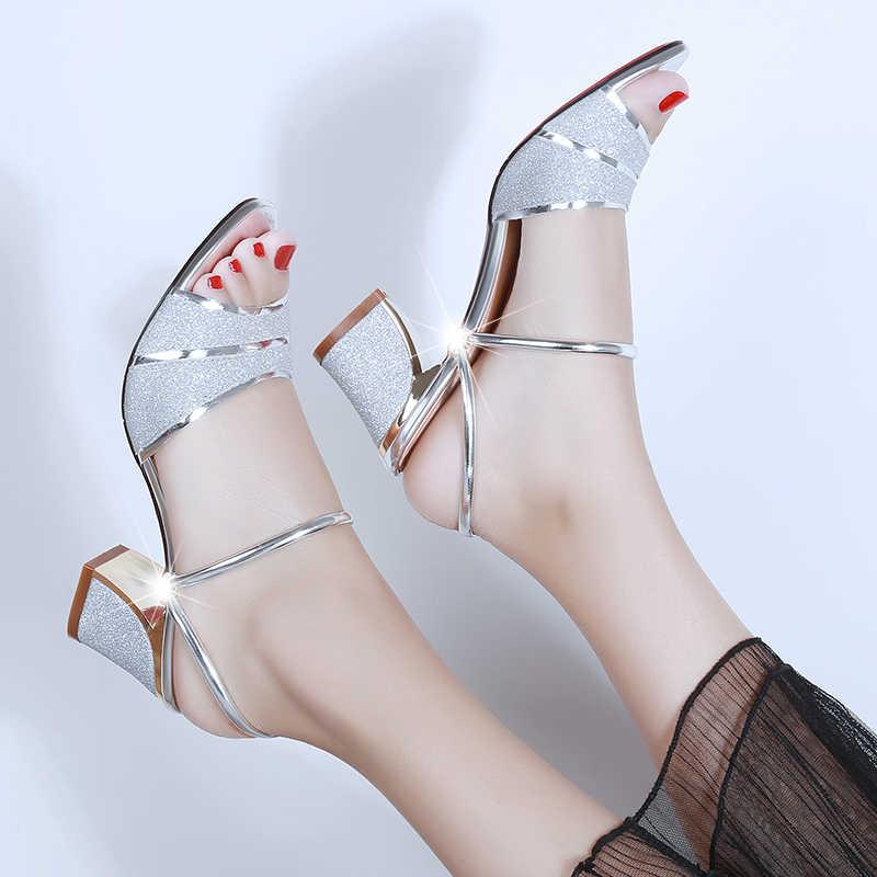Frauen Hausschuhe 2020 Sommer Schuhe Frau Sandalen Silber Hochzeit Schuhe Bling Rutschen Platz Mit Hohen Absätzen Slipper Gold Alias Mujer 7247