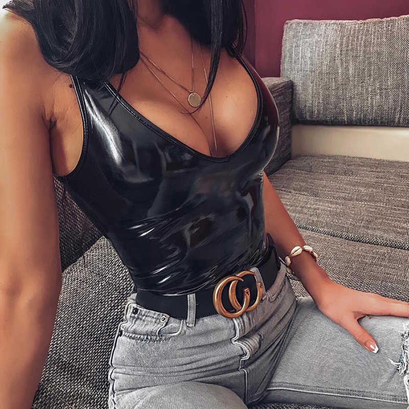 PU de Couro Sexy Bodysuits Clube Desgaste Playsuit 2019 Venda Quente Elegante Sem Mangas Decote em V Profundo Bodysuit Macacões De Couro Falso