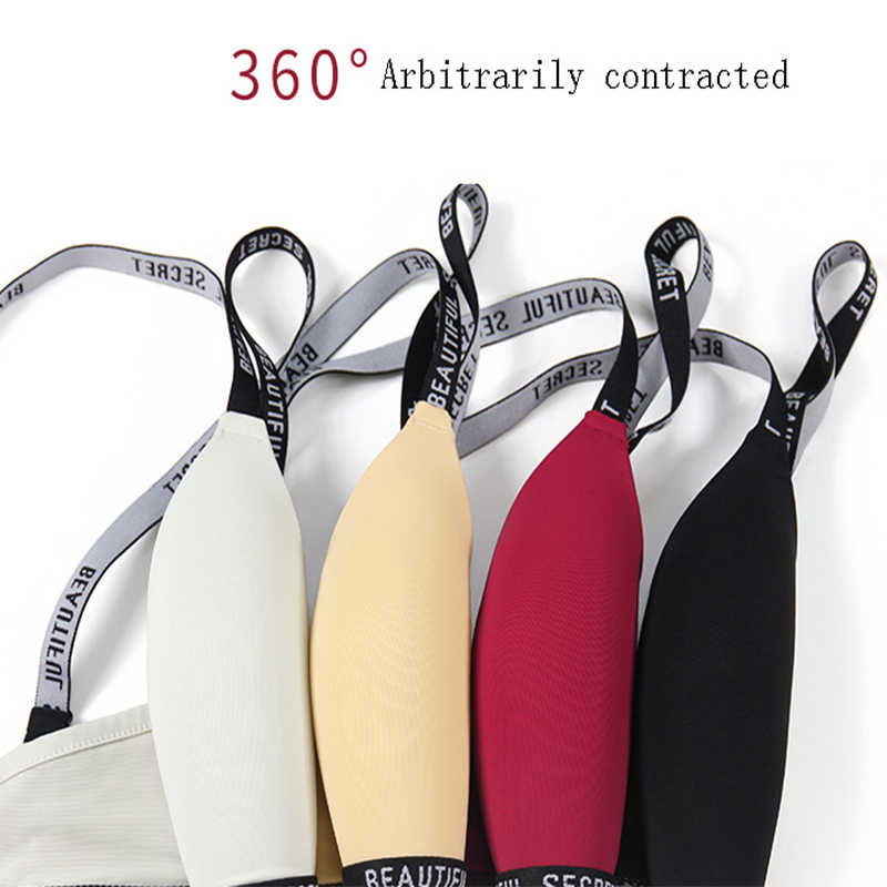 PAERLAN שחור אופנה מעצב האלפבית עם עמוק V טהור צבע חזיית מלא גבוהה חזייה סקסי נשי אינטימי הלבשה תחתונה Comf תחתונים