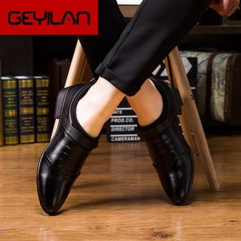 BVNOBET Men Leather Shoes Suit Wedding Office Men'S Dress Shoes Italian Style Pointed Toe Business Men Shoes Erkek Ayakkabi