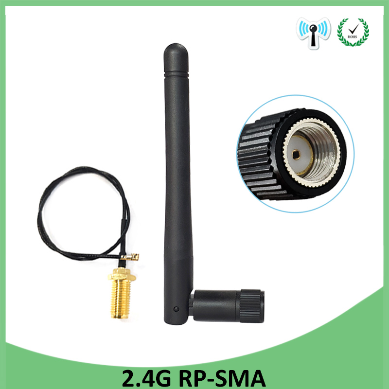5pcs 2.4GHz Antenna Wifi RP-SMA Male Connector 3dBi Wi Fi 2.4G Antena + IPX To RP-SMA Jack Male Extension Cord Pigtail Cable