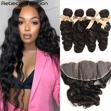 Rebecca-mèches Remy brésiliennes avec Frontal, cheveux Remy, Loose Wave, cheveux naturels, lot de 3
