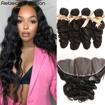 Rebecca Brazilian Loose Wave Bundles With Frontal Remy Human Hair 3