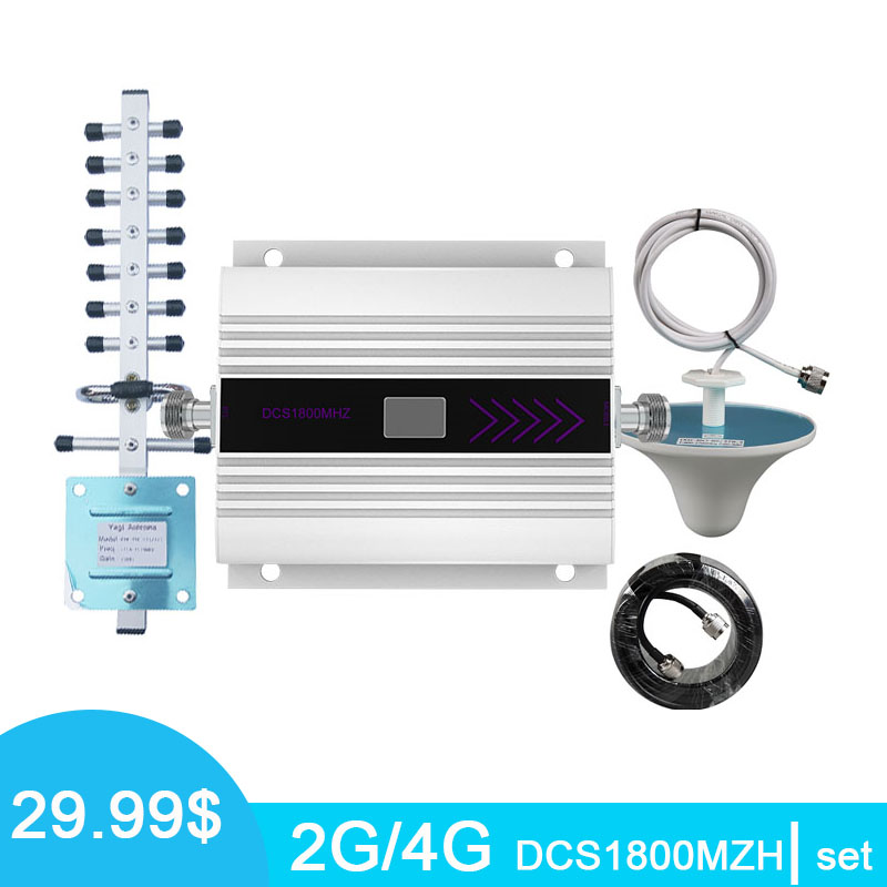 4G Mobile Signal Booster LTE DCS 1800mhz LCD Display Cell Phone Signal Amplifier Band 3 With Ceiling +Yagi Antenna Kits *