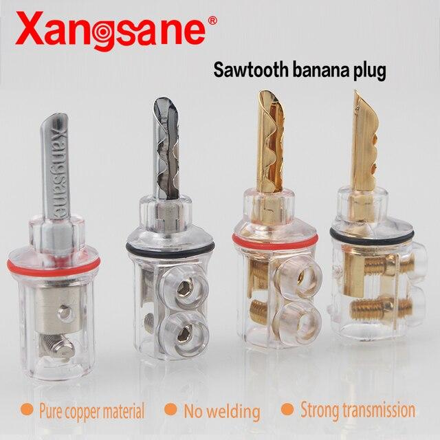 Xangsane 8 adet yüksek performanslı saf bakır altın kaplama muz kilit fiş HiFi hoparlör muz konnektörleri 8mm