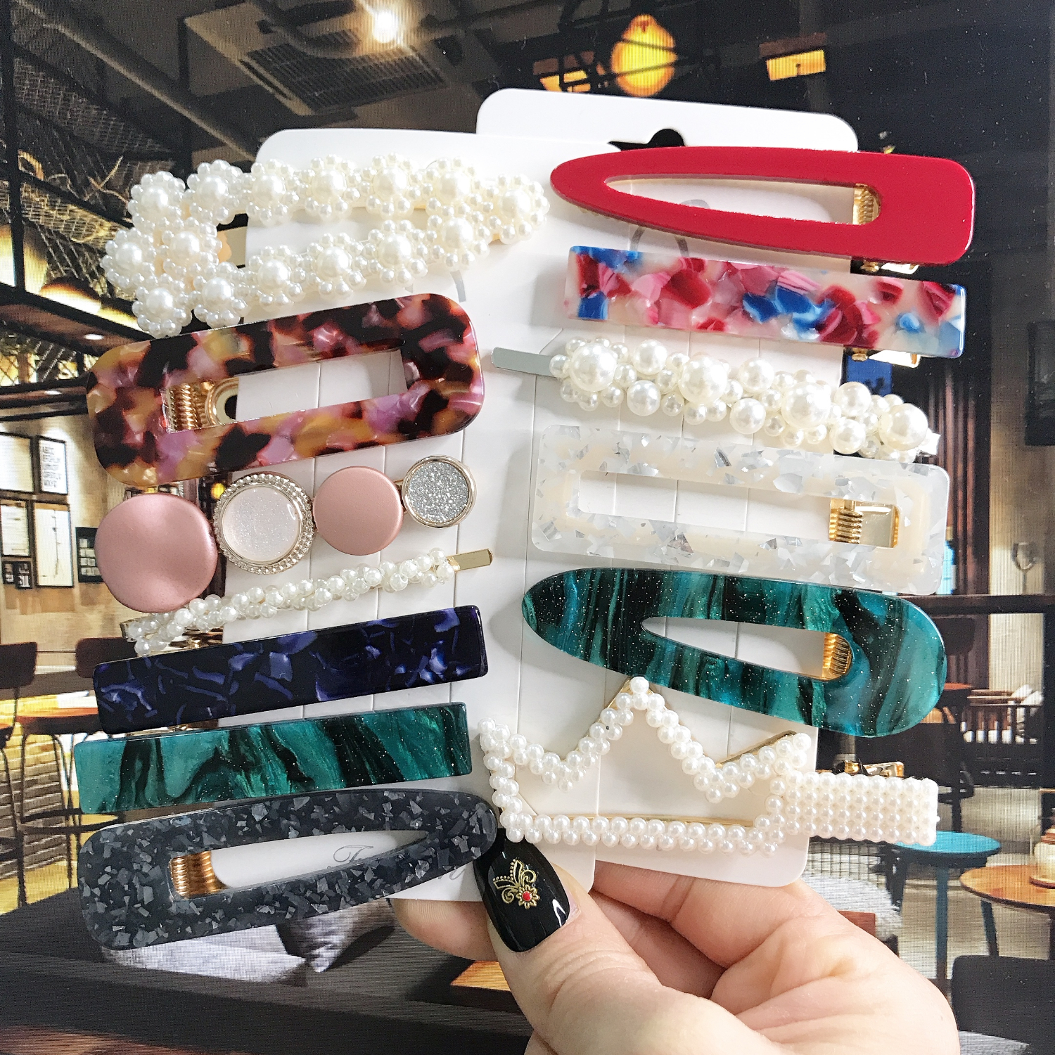 Ins Fashion Acrylic Hair Clip For Women Girls Barrette Set Pearls Hairpins Korean Geometric Hair Accessories Kids Hairgrip 2020