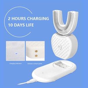 Image 5 - Умная автоматическая Зубная щетка 360 градусов, перезаряжаемая ультразвуковая зубная щетка U образной формы, синий холодный светильник