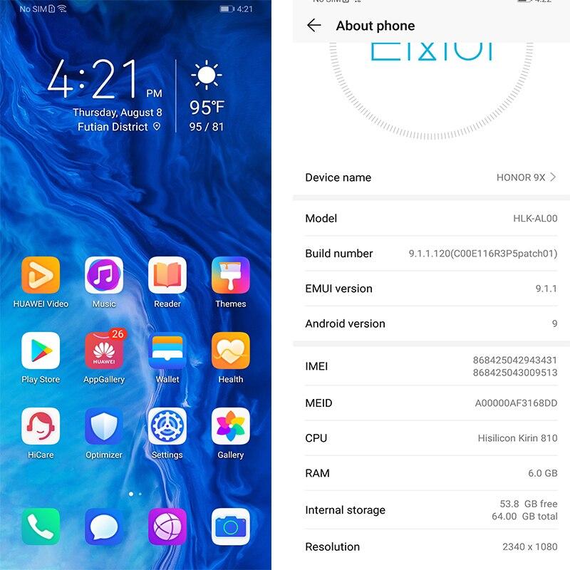 Honor 9x 9x pro téléphone intelligent Kirin 810 Octa Core 6.59 pouces levage plein écran 48MP double caméras 4000mAh GPU Turbo téléphone Mobile - 4