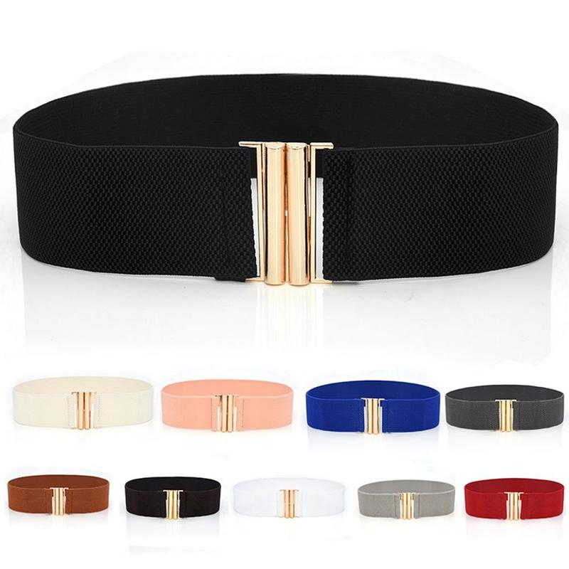 1pc Wide Waist Seal Elastic Stretch Belt With Gold Metal Buckle Women Fashion Wild Elastic Candy Color Waistband Dress Adornment